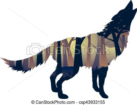 450x345 Wolf Howling With Forest. Silhouette Of The Wolf Howling