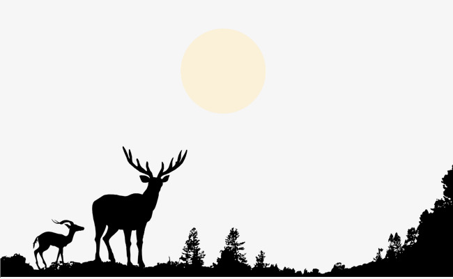 650x400 Hand Painted Black And White Silhouette Deer Hilltop Forest Moon