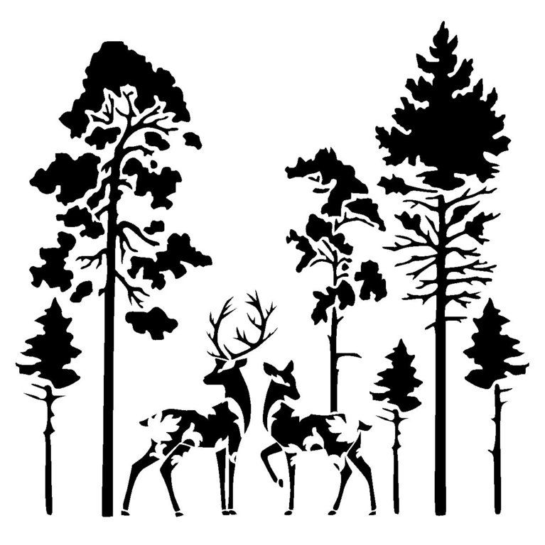 767x768 Vintage Deers In Forest Stencil Plasma Cut Forest Animals