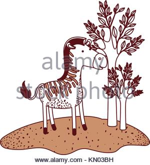 300x330 Zebra Cartoon In Forest Next To The Trees In Watercolor Silhouette