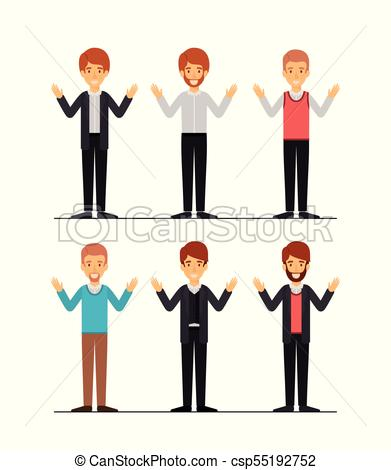 391x470 Men Set In Formal Clothes Colorful Silhouette Vector Clipart