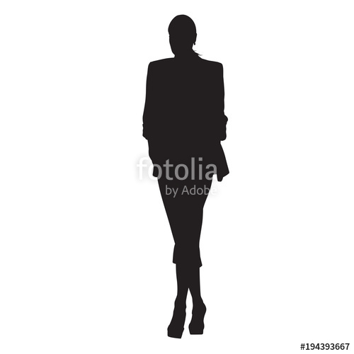 500x500 Business Woman Walking In Formal Dress, Front View. Isolated