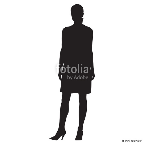 500x500 Standing Woman In High Heels Shoes, Formal Dress, Vector