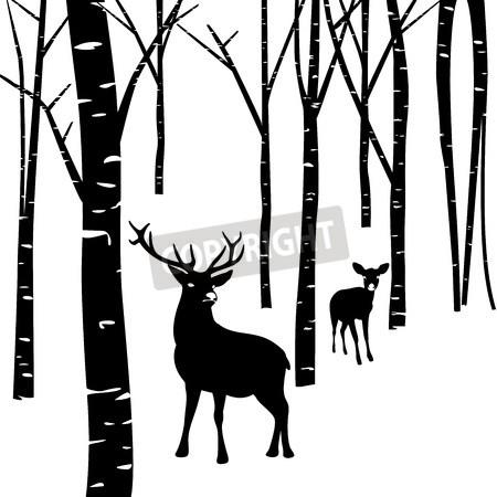 450x450 Couples Of Deer Walking Around Winter Forest Bedroom