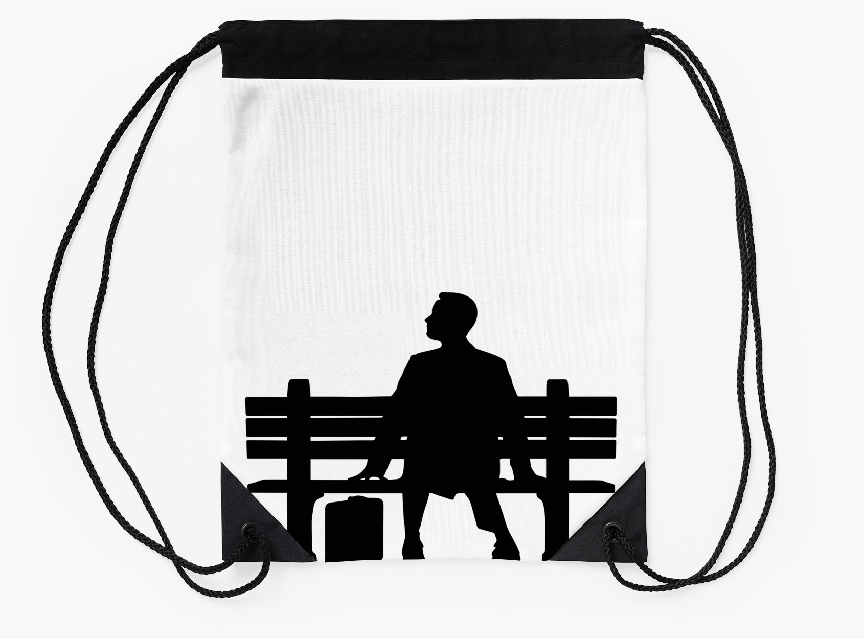 1690x1250 Forrest Gump Silhouette Sitting On Bench Drawstring Bags By