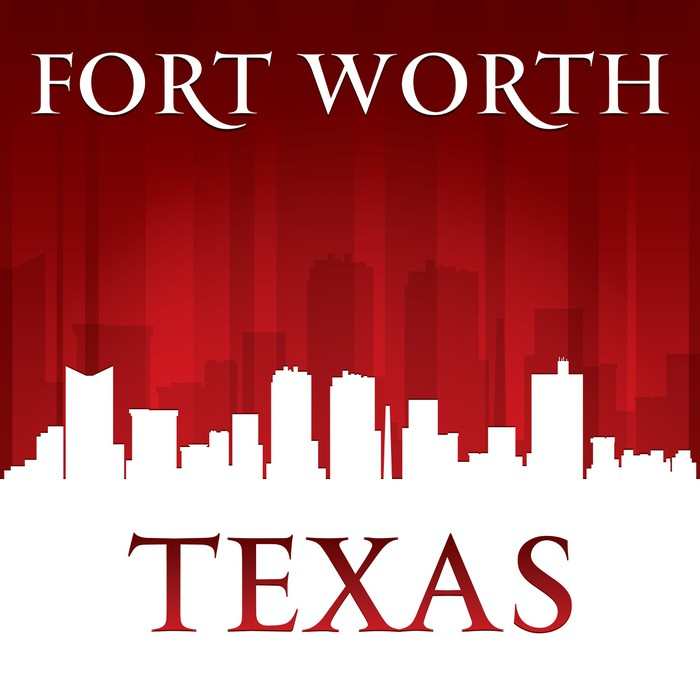 700x700 Fort Worth Texas City Skyline Silhouette Red Background Wall Mural