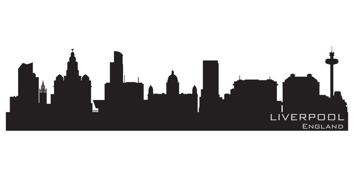 700x350 Liverpool, England Skyline. Detailed Vector Silhouette Wall Mural