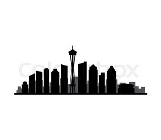 320x280 Seattle Washington City Skyline Silhouette. Vector Illustration