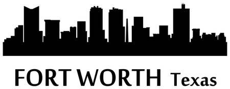 450x175 Stunning Fort Worth Skyline Vector Digital Artwork For Sale