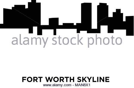 450x297 Fort Worth Skyline Silhouette On White Background Stock Vector Art