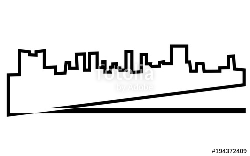 500x313 Fort Worth Skyline Silhouette Outline On White Background Stock