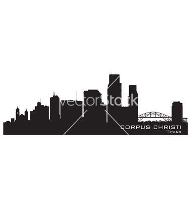 380x400 Corpus christi texas skyline detailed silhouette vector 1861486  +