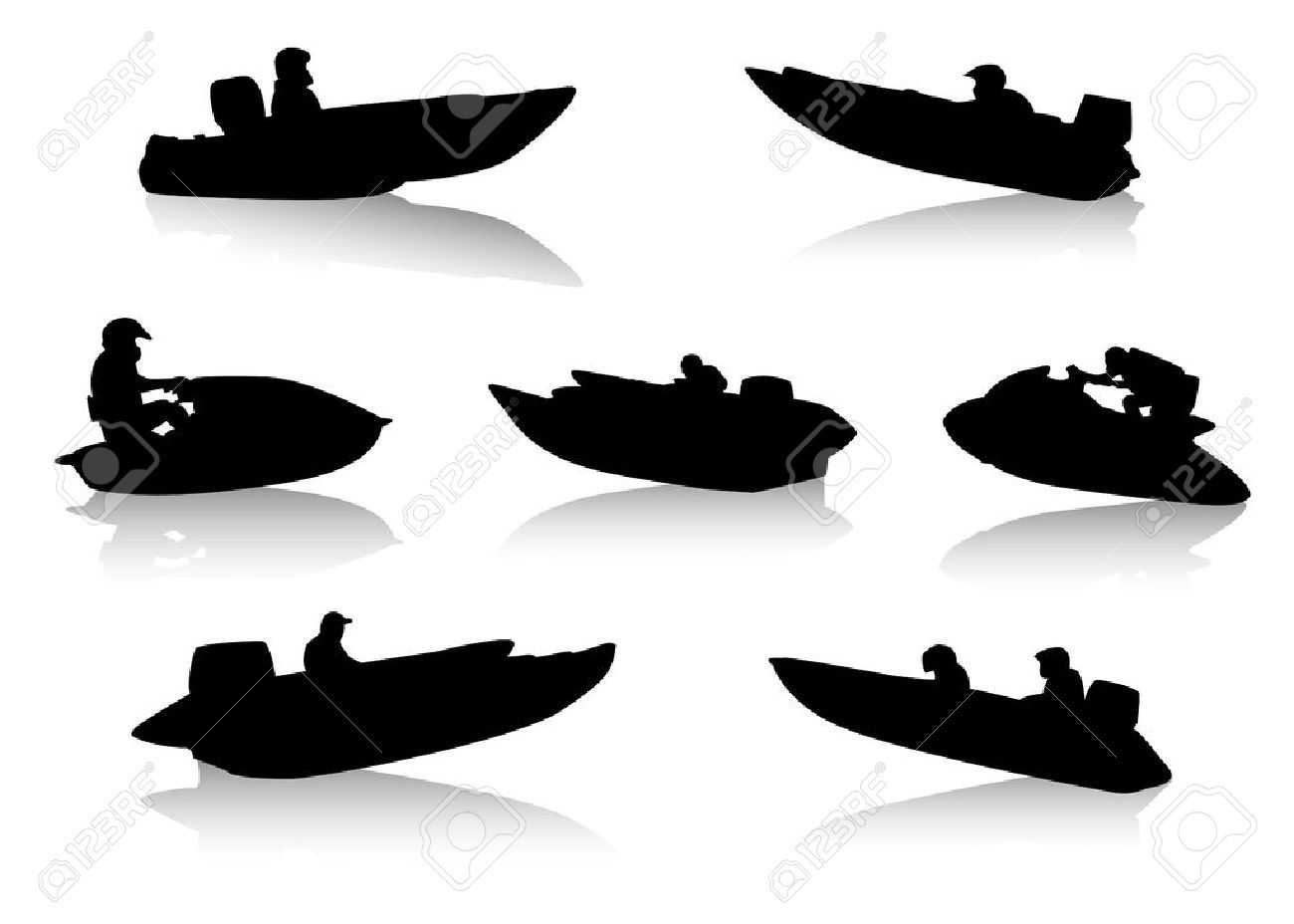 1300x928 1372898 Silhouettes Of People On Motor Boats Stock Vector Boat