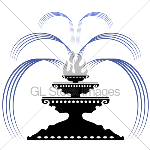 500x500 Retro Fountain Silhouette Icon Gl Stock Images