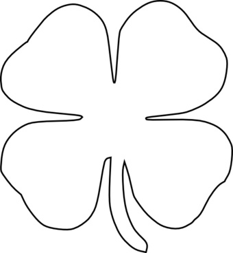 340x368 Four Leaf Clover Outline Free Vector Download (8,573 Free Vector