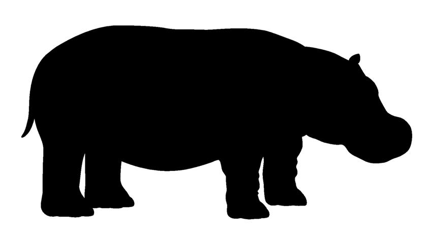 854x471 Hippopotamus Silhouette Decal Sticker
