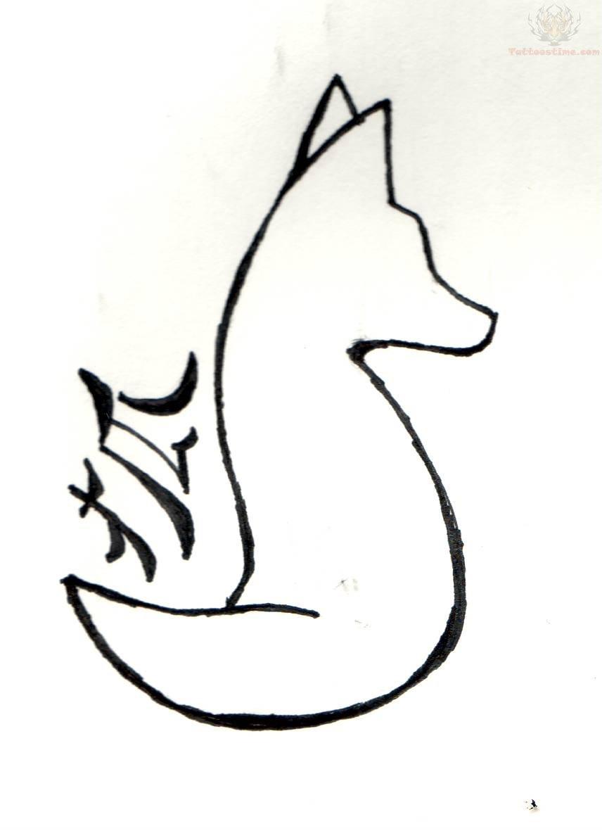 856x1181 Fox Outline Tattoo Design