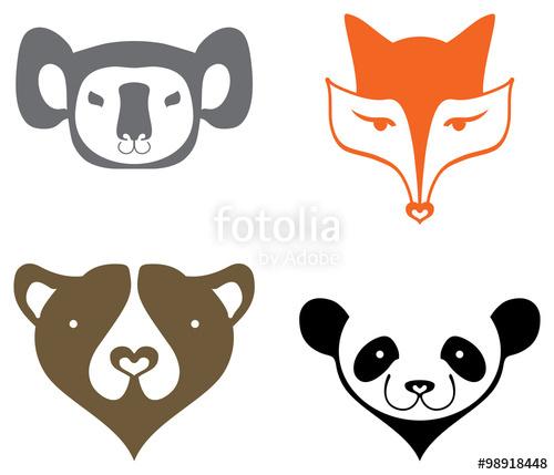 500x429 Koala, Fox, Bear, Panda, Head Silhouette