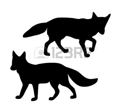 450x360 The Black Silhouettes Of Two Foxes On White Stock Vector