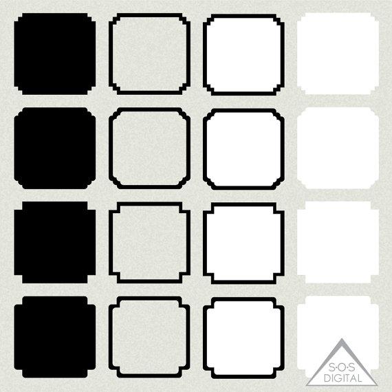570x570 Square Digital Frames, Square Frame, Tribal Frame Clipart, Basic