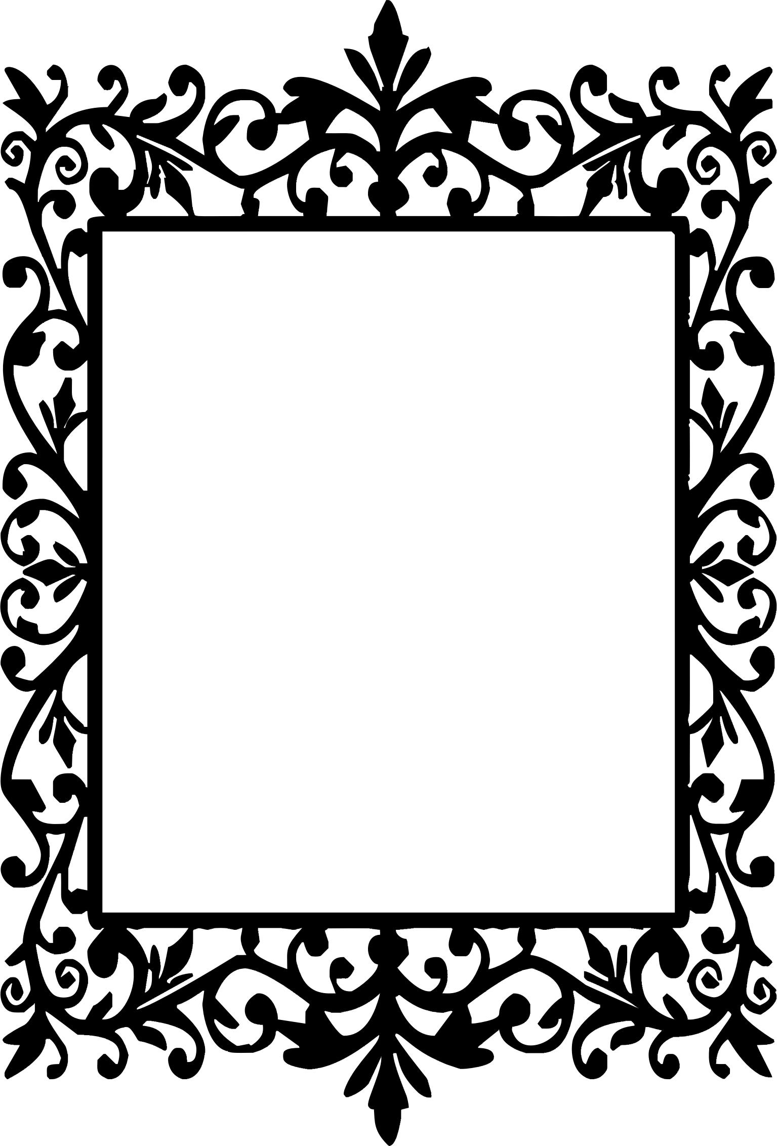 1535x2264 Decorative Floral Frame Silhouette Icons Png