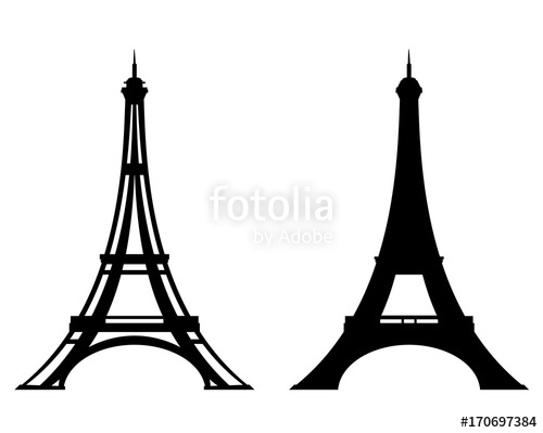 500x399 Eiffel Tower Stylized Outline And Silhouette