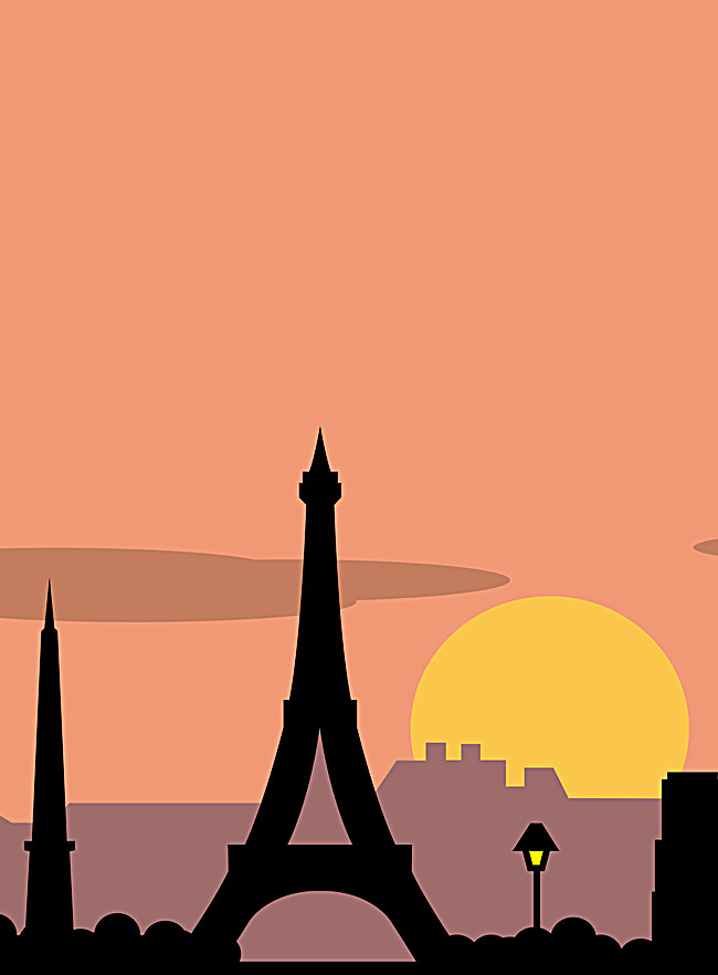 650x882 Eiffel Tower Silhouette Poster, France, Sunrise, Sun Background