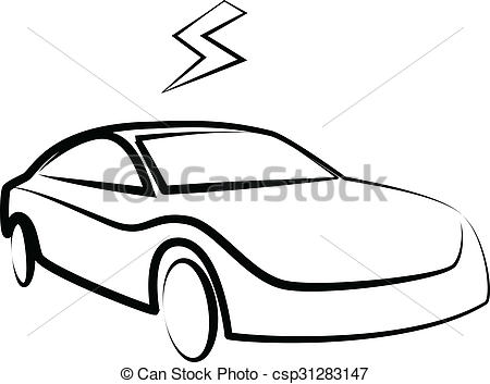 450x353 Modern Electric Car Silhouette. Electric Car Illustration Stock