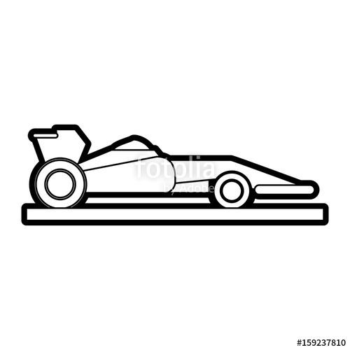 500x500 Race Car Silhouette Illustration Icon Vector Design Graphic Stock