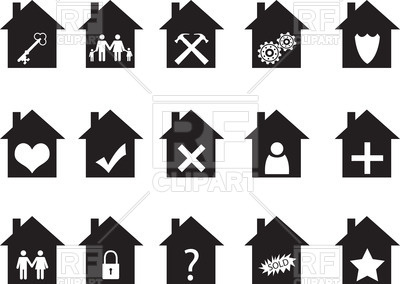 400x284 House Shaped Icons With Pictograms Royalty Free Vector Clip Art