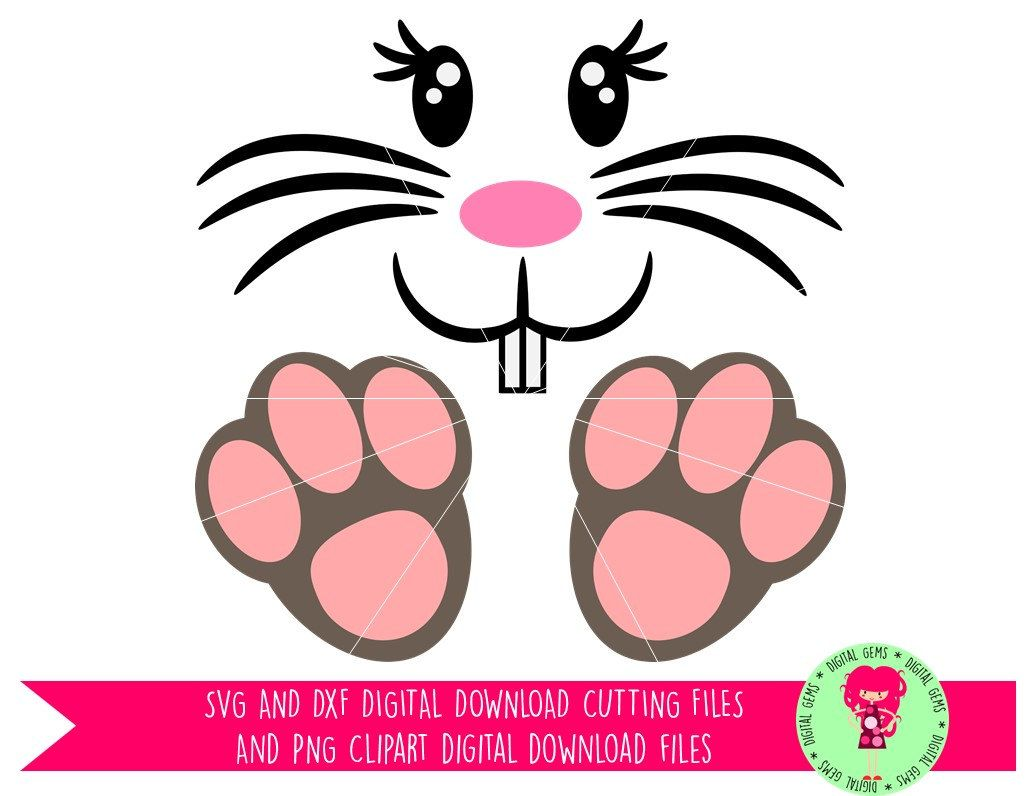 1036x796 Easter Bunny Face And Feet Svg Dxf Cutting File For Cricut