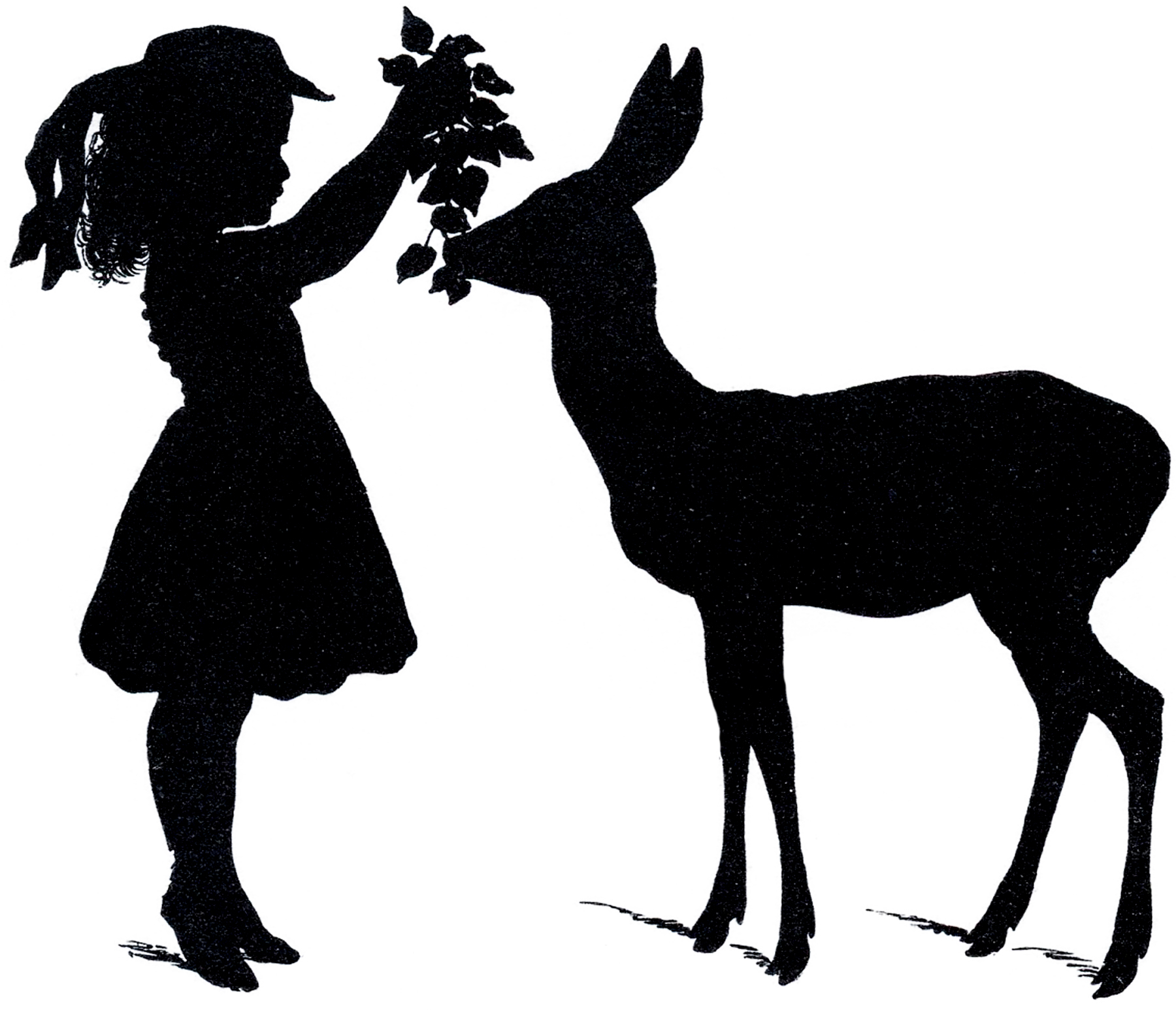 1800x1546 Deer Silhouette Girl Graphicsfairy