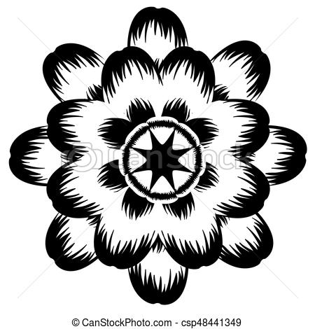 450x470 Isolated Flower Silhouette. Isolated Silhouette Of A Eps Vector