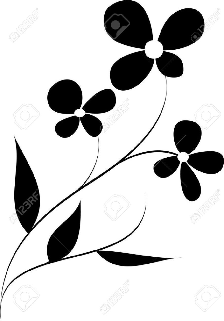 908x1300 Vector Flower Pattern On White Background Royalty Free Cliparts