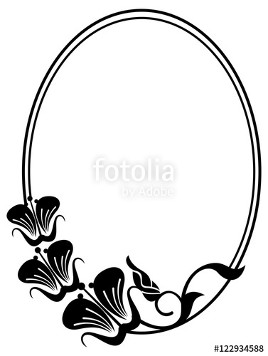 377x500 Beautiful Silhouette Frame. Simple Black And White Oval Frame