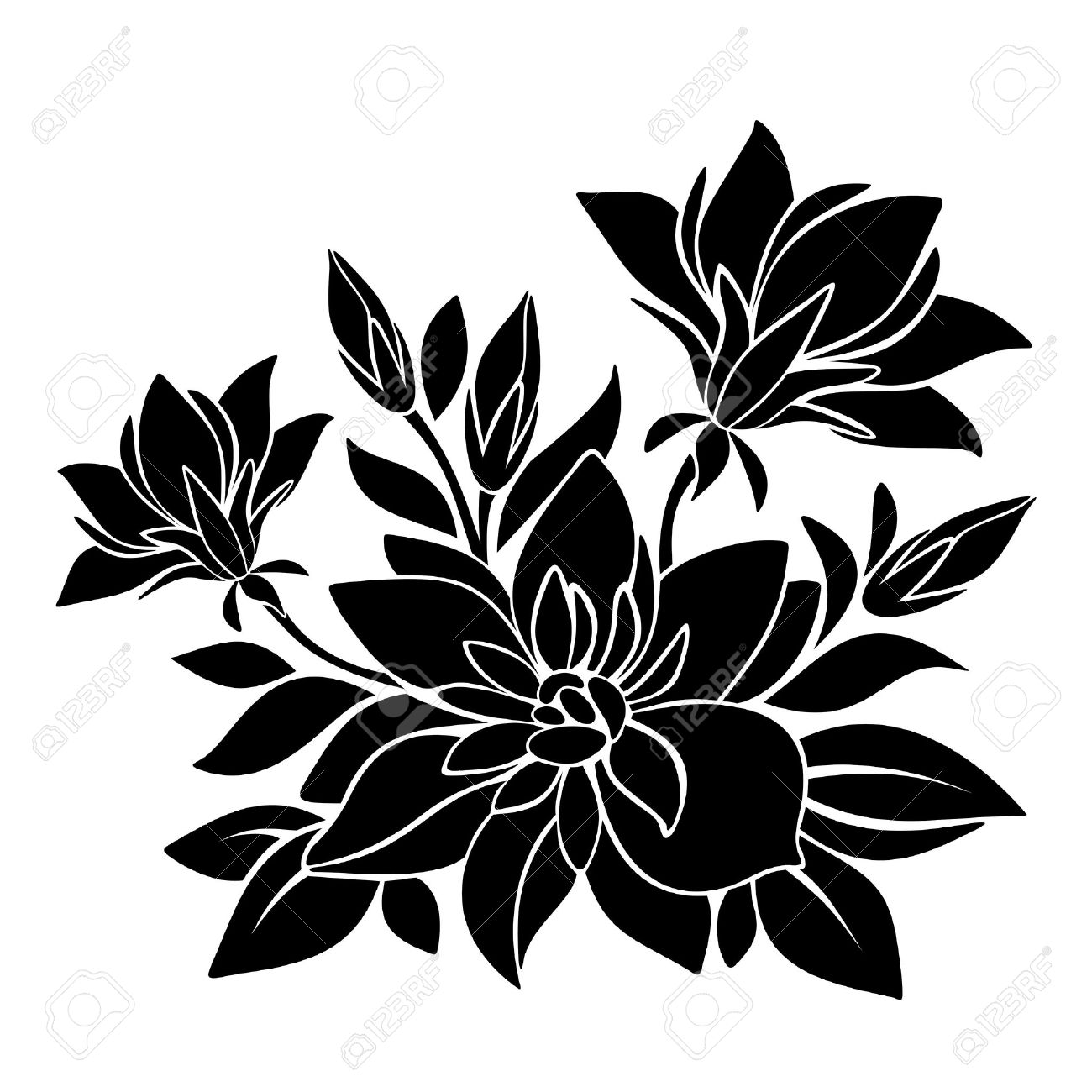 Free flower vector silhouette at getdrawings free for personal 1300x1300 black silhouette of flowers vector illustration royalty free mightylinksfo