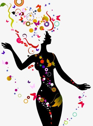 311x419 Flower Beautiful Silhouette Vector Material, Woman, Sketch