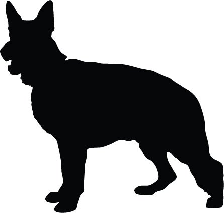 445x424 Alsatian Dog German Shepherd Dog Silhouette Vinyl Sticker 15cm X
