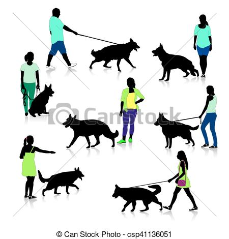 450x470 People With German Shepherd. Silhouettes Of Peoplend