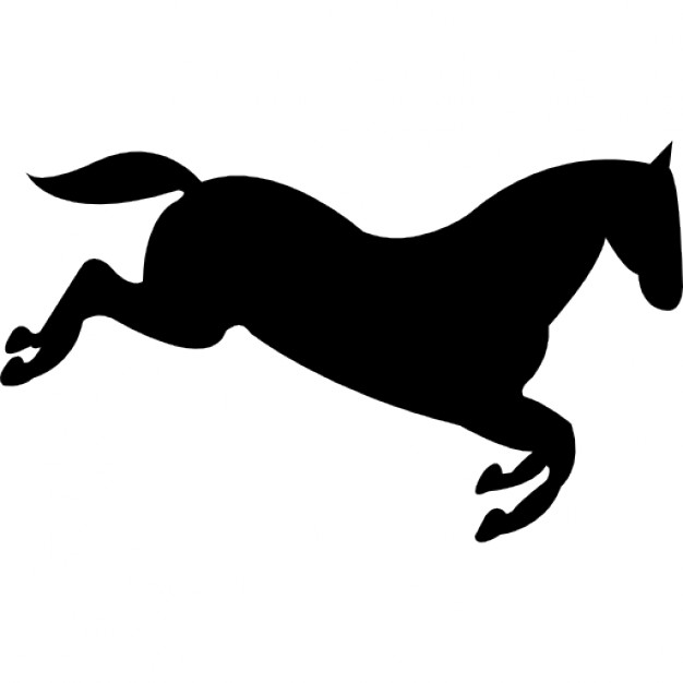 626x626 Horse Black Silhouette Going Down After Jumping Icons Free Download