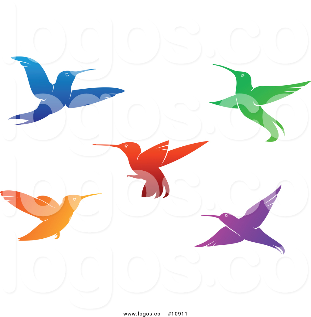 1024x1044 Royalty Free Vector Logo Of Hummingbirds Blue, Green, Red, Orange