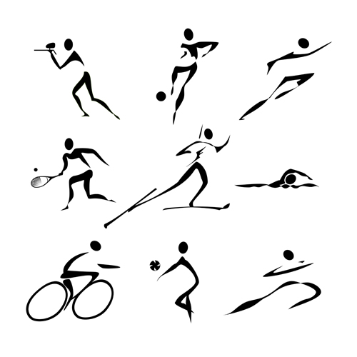500x500 Different Olympic Sports People Silhouettes Vector 05
