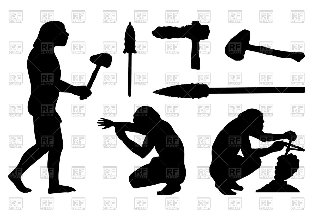 1200x831 Silhouettes Of Ancient People And Tools Royalty Free Vector Clip