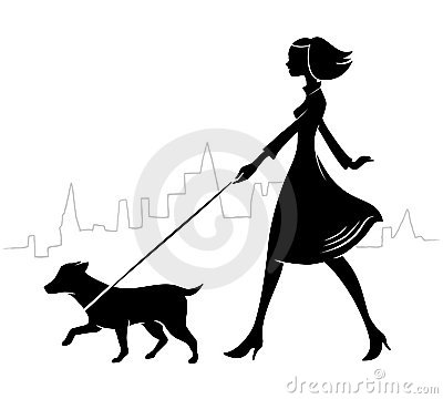 400x360 Woman Umbrella Walking Dog Silhouette Clipart