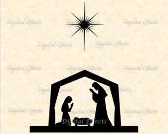 340x270 Nativity Scene Silhouette Printable Pages To Print