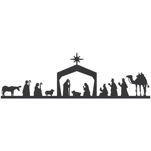 photograph relating to Nativity Clipart Free Printable identified as Absolutely free Printable Nativity Scene Silhouette at