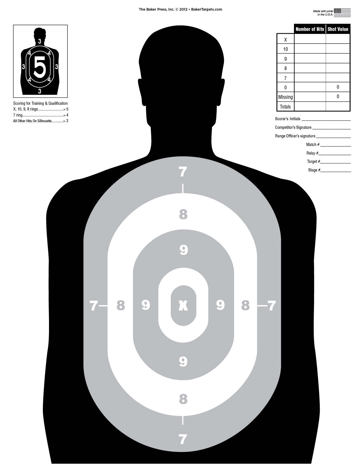 This is a graphic of Printable Silhouette Target in man