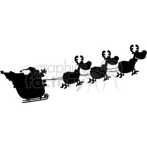 300x300 Royalty Free Black Silhouettes Of Santa Claus In Flight With His