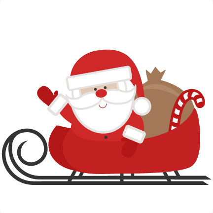 432x432 Santa In Sleigh Svg Scrapbook Cut File Cute Clipart Files