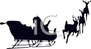 300x162 Silhouette Of Santa And His Reindeer Flying